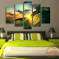 5 Panel Sunset Seascape Painting Sea Wave Picture for Bedroom Modern Home Decor Wall Art Canvas Prints Unframed