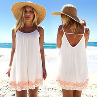 Womens Summer Dresses 2016 summer Beachwear Beach Wear Cover Up Ladies Summer Mini Dress