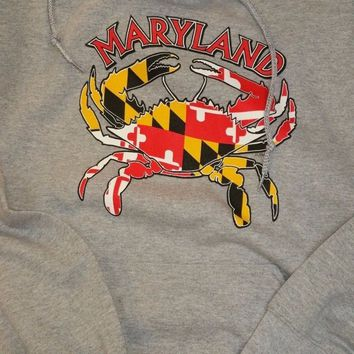 New MARYLAND FLAG CRAB  HOODIE SWEATSHIRT