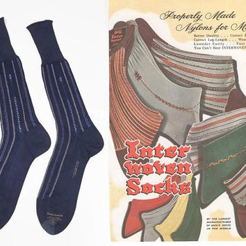 Vintage 50s Dress Socks | 1950s Mens Socks | Interwoven Socks | Nylons for Men | Blue Socks | Atomic Socks | Madmen Socks | Size 11.5 | NOS