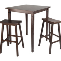 Amazing Kinsgate 3pc Dining Table Set with Saddle Stool by Winsome Woods