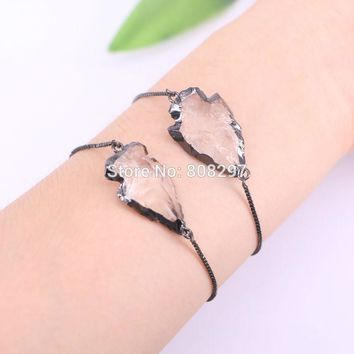 New Fashion 5Pcs Gun Metalblack Plated Arrowhead Stone Beads charm adjustable chain Macrame bracelet