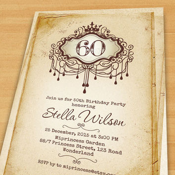 birthday Invitation 30th 40th 50th 60th 70th 80th any age  vintage paper crown border Birthday Party Invitation retro frame - card 339