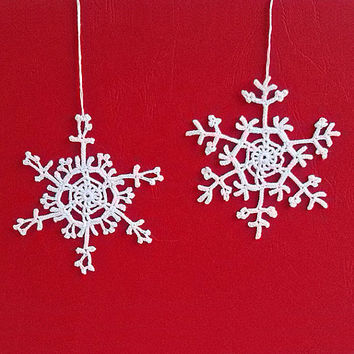 Crochet Snowflake Set #2 Handmade christmas tree decorations Christmas time X-mas holiday decor New Year ornaments accents Winter presents
