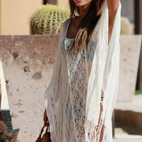 White Sheer Lace Fringe Bikini Cover Up