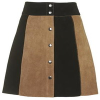 Striped Suede A-Line Skirt - Black