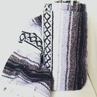Vintage Mexican Blanket, Serape, Purple, White, Black, Gray, Boho, Home Decor, Bedding, Throw Blanket, Yoga Mat