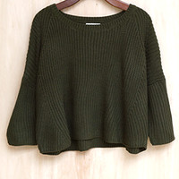 'Olive-You' Chunky Cropped Sweater