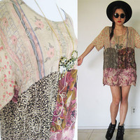 Vintage 90's grunge patchwork pink slouchy hippie bohemian floral boho festival pleated top blouse