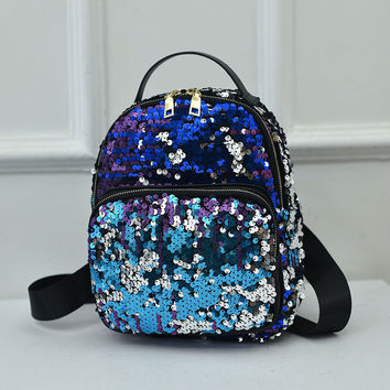 Small Glitter Backpack Women Silver Sequin Daypack Girls Black Leather