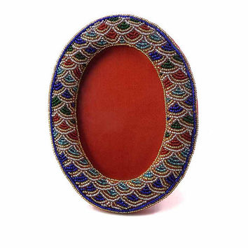 Vintage Hand Beaded Oval Picture Frame Water Design Blue Gold Green Red Glass Beads Holds 3.5 x 5 inch Photo Image Area Can Hang or Stand
