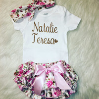Personalized baby girl outfit, baby girl clothes, baby girl bloomers, baby girl Onesuit, baby girl coming home outfit