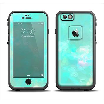 The Bright Teal WaterColor Panel Apple iPhone 6 LifeProof Fre Case Skin Set
