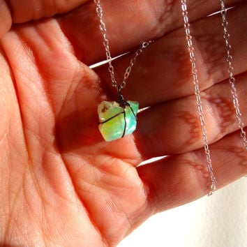 Wire Wrapped Rough Opal Pendant and 925 Sterling Silver Chain Necklace