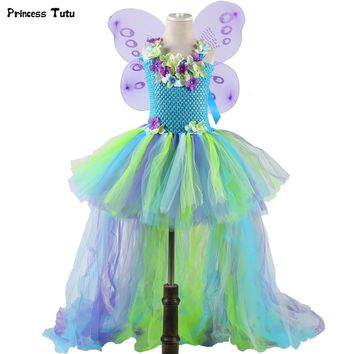 Water Fairy Girls Tutu Dress Long Tail Princess Flower Girl Birthday Party Dress Kids Halloween Cosplay Fairy Costume With Wings
