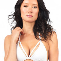 Voda Swim Envy Push Up Cutout String Bikini Top in White | Beachbliss Swimwear & Apparel