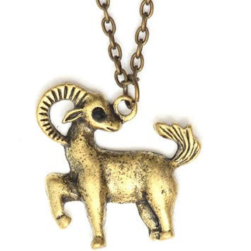 Aries Necklace Antique Zodiac NG30 Crystal Ram Gold Tone Pendant Vintage Astrology Charm Horoscope