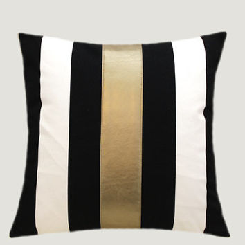 "Cotton Black-White Throw pillow case with gold faux leather accent, 16""x16"",  Cushion case, Toss pillow case."
