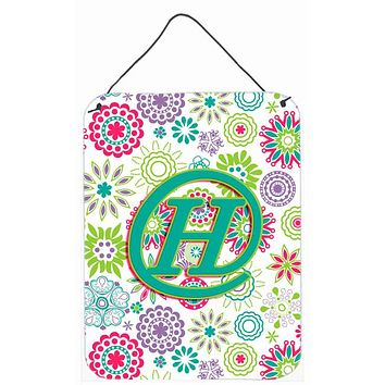 Letter H Flowers Pink Teal Green Initial Wall or Door Hanging Prints CJ2011-HDS1216