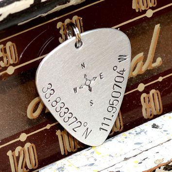 Keychain Guitar Pick with Personalized Latitude Longitude Coordinates