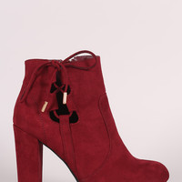 Bamboo Side Lace Up Round Toe Chunky Heel Booties