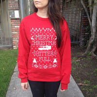 "Christmas Sweater ""MERRY CHRISTMAS You FILTHY Animal Shitters Full!"" From Home Alone ya Sweat Shirt"