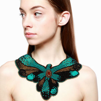 Seed bead embroidered large massive necklace collar Statement embroidery black gold colorful Beading big Cocktail party disco jewelry Spring