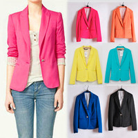 Hot Womens one-button Bright Color Blazer Top Jacket Outerwear Casual Suits 132
