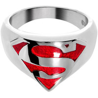 Licensed Stainless Steel Classic Red Superman Ring | Body Candy Body Jewelry