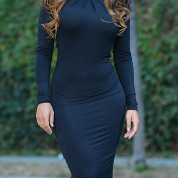 Navy Halter Ruched Backless Long Sleeve Bodycon Dress