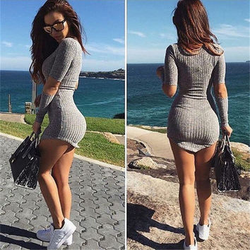 Gray Cutout Sleeves Bodycon Knitted Mini Dress