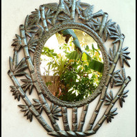 Handcrafted Metal Mirror Wall Decor - Bamboo Design - Haitian Steel Drum Metal Art - 30""
