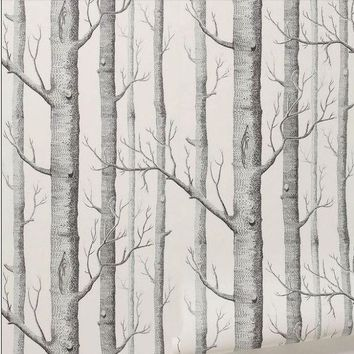 ONETOW Textured Tree Forest Woods Wall Paper Background Wallpaper Roll Living Room Hotel Restaraunt Decor DIY Art