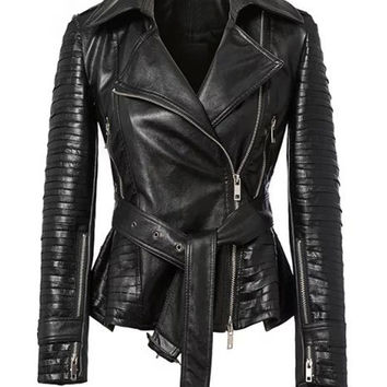 Black Lapel PU Tied Ruched Hem Biker Jacket