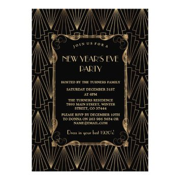 Glam Old Hollywood Great Gatsby New Year Party Card