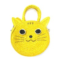 Kitty Cat Head Face Shaped Straw Woven Cross Body Shoulder Bag for Women in Yellow