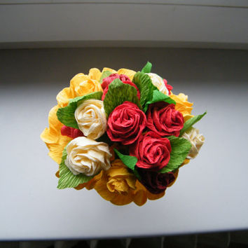 Crepe paper roses handmade in various colors perfect for any wedding table decoration or flower girl.
