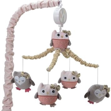 Lambs & Ivy Family Tree Pink/Gray/Tan Owl Musical Baby Crib Mobile