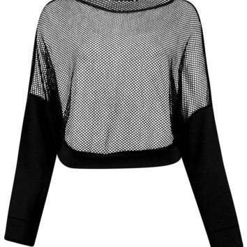 Nancy Slash Neck Mesh Running Sweat | Boohoo