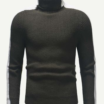 Men Color Block High Neck Jumper