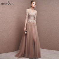 Sexy Side Split Prom Dress Lace Applique Pleated Formal Evening Party Gown 2016 Women Half Sleeve Tulle Backless robe de soiree