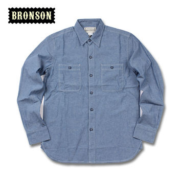 Vintage Reproduction Mens Navy long-sleeve Chambray Twill Sailor shirt by Bronson