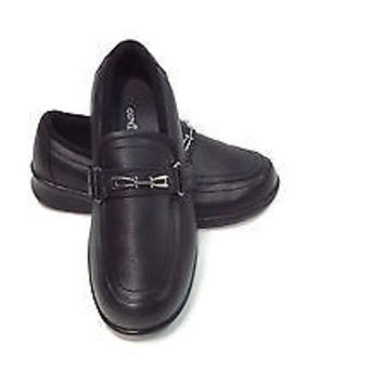 Ortho Feet Womens BLACK Leather Shoes Size 8 D Wide Comfy Velcro Strap