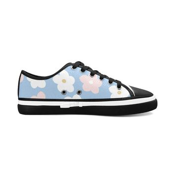 Blue Floral Theme Black Women's Nonslip Canvas Shoes