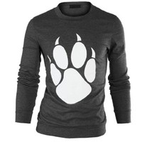 Mens Round Neck Long Sleeve Chic Bear Paw Pattern Slim Fit Tee Shirt