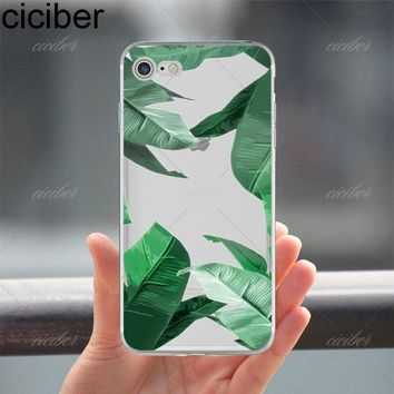 Tropical Plants Cactus Banana Leaves soft silicon Phone cases cover For iPhone 6 6S 7 8 plus 5S SE X