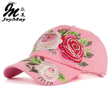New Arrival high quality fashion Women cap Colorful flower embroidery rhinestone Baseball Cap snapback Adjustable Sunhat B344