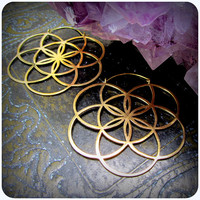 Sacred Geometry Seed of Life Earrings Hoops ~ Fits in Gauges / Tunnels ~ Geometric Flower of Life Gold Brass ~ Burning Man Festival Style