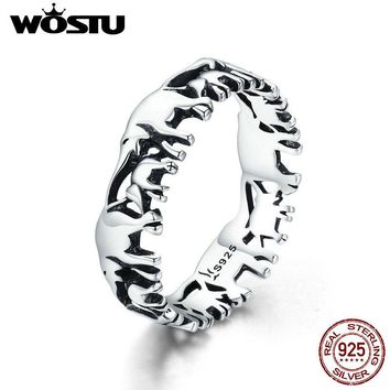 WOSTU 100% Real 925 Sterling Silver Animal Elephant Family Finger Rings For Women Silver Fashion 925 Jewelry Gift CQR344