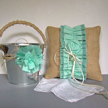 Burlap Ring Bearer Pillow, Flower Girl Basket, 2 Piece Set, Aqua Ombre, Rustic, Burlap Wedding, Spring, Garden Wedding, Pail, Vintage